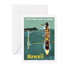 Vintage United Waikiki Poster Greeting Cards (Pack