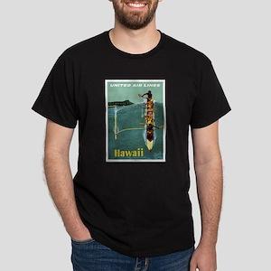 Vintage United Waikiki Poster Black T-Shirt
