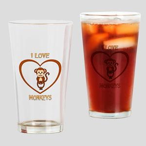 I Love Monkeys Drinking Glass
