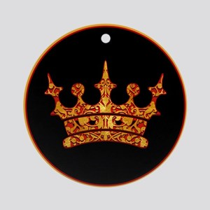 Gold Leaf Crown Ornament (Round)