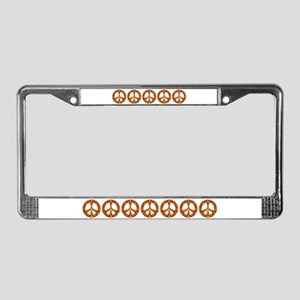 Gold Leaf Peace License Plate Frame