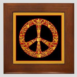 Gold Leaf Peace Framed Tile