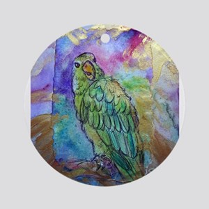 Beautiful, Green, Parrot, Ornament (Round)