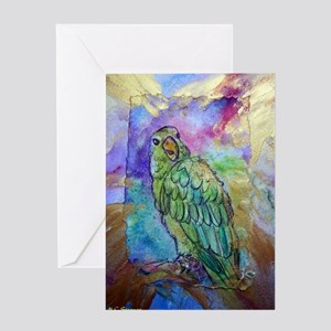 Beautiful, Green, Parrot, Greeting Card