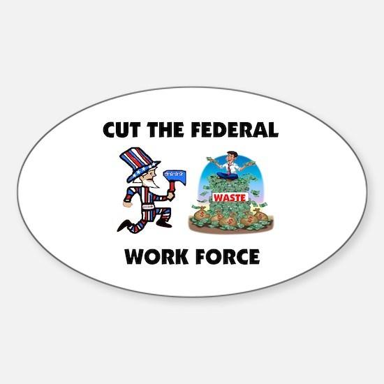 CUT THEIR PAY Sticker (Oval)
