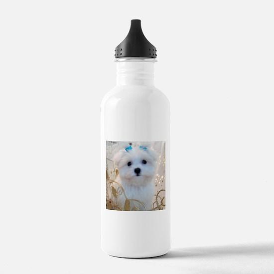 Maltese Blue Bows Water Bottle