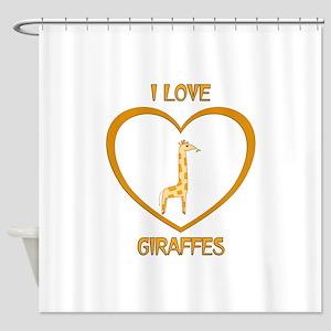 I Love Giraffes Shower Curtain