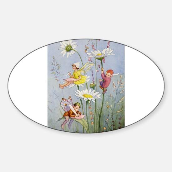 MOON DAISY FAIRIES Sticker (Oval)