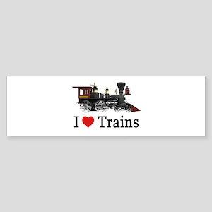 I LOVE TRAINS Sticker (Bumper)