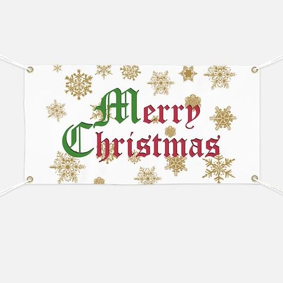 Golden Christmas Snowflakes Banner