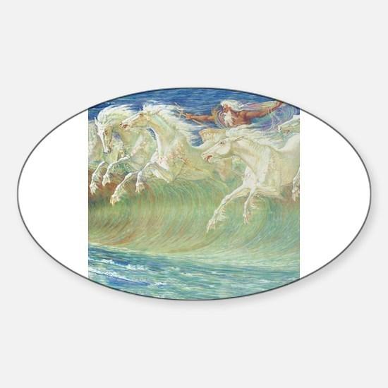 NEPTUNE'S HORSES Sticker (Oval)