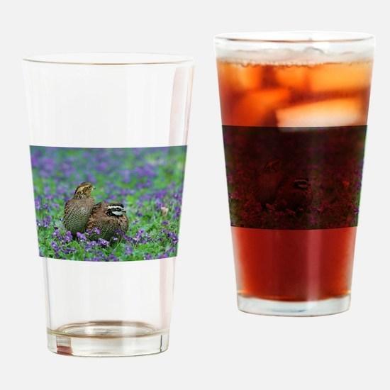 Bobwhites Among Purple Flowers Drinking Glass