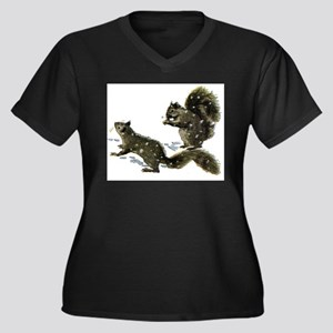 SQUIRRELS IN THE SNOW Women's Plus Size V-Neck Dar