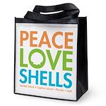 Peace Love Shells Reusable Grocery Tote Bag