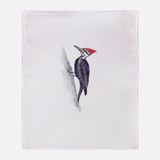 handsome pileated woodpecker Throw Blanket