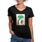 Desert Island Christmas Women's V-Neck Dark T-Shir