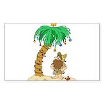 Desert Island Christmas Sticker (Rectangle 10 pk)