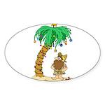 Desert Island Christmas Sticker (Oval 50 pk)