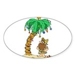 Desert Island Christmas Sticker (Oval 10 pk)
