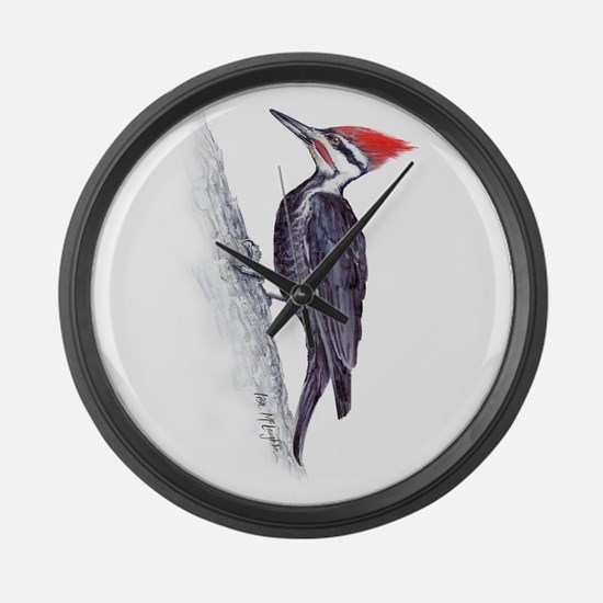 handsome pileated woodpecker Large Wall Clock