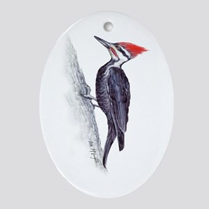 handsome pileated woodpecker Ornament (Oval)