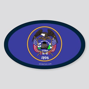 Utah State Flag Oval Sticker