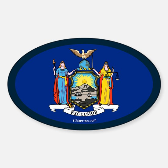 New York State Flag Oval Decal