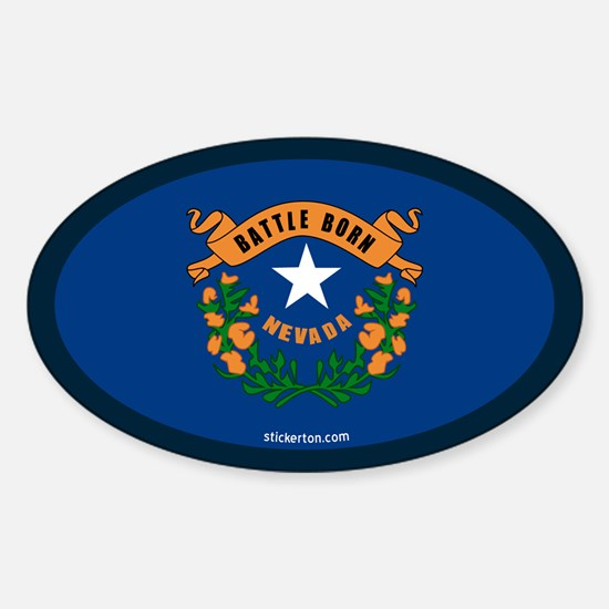 Nevada State Flag Oval Decal