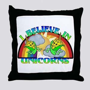 I Believe In Unicorns Throw Pillow