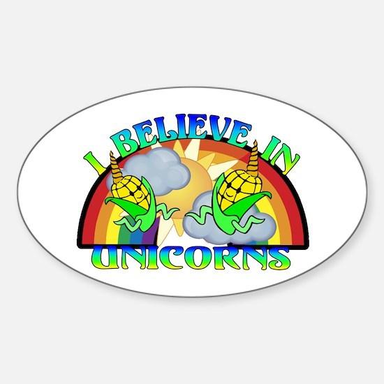 I Believe In Unicorns Sticker (Oval)