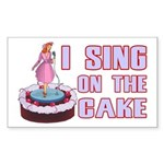 I Sing On The Cake Sticker (Rectangle 50 pk)