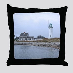 Old Scituate Lighthouse Throw Pillow