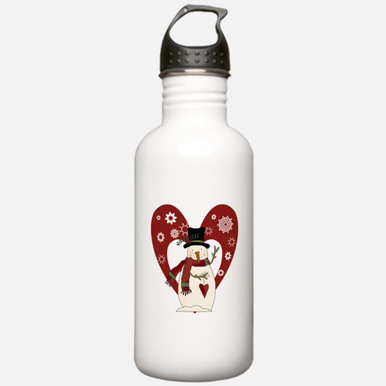 Snowman and Heart Water Bottle