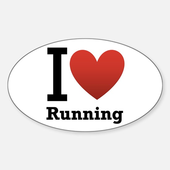 I Love Running Sticker (Oval)