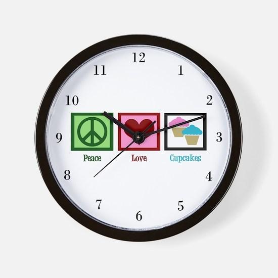 Peace Love Cupcakes Wall Clock