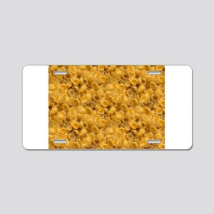 shells and cheese Aluminum License Plate