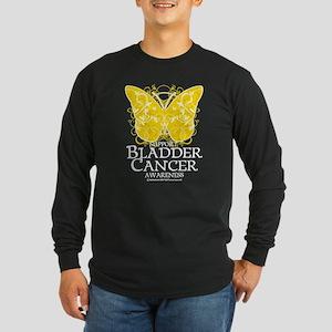 Bladder Cancer Butterfly Long Sleeve Dark T-Shirt