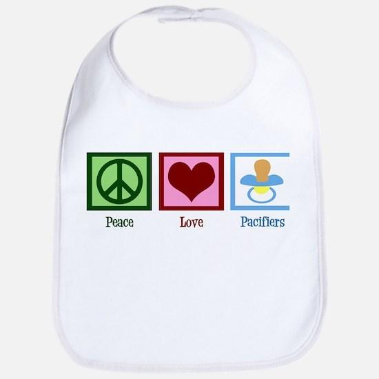 Peace Love Pacifiers Bib
