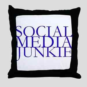 Social Media Junkie Throw Pillow