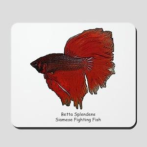 Red Betta Splendens -Siamese  Mousepad