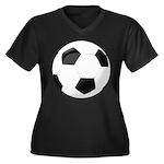 Soccer Ball Women's Plus Size V-Neck Dark T-Shirt