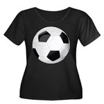 Soccer Ball Women's Plus Size Scoop Neck Dark T-Sh