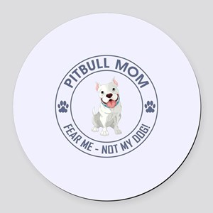 PITBULL MOM Round Car Magnet