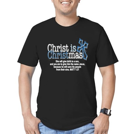 Christ back in Christmas Men's Fitted T-Shirt (dar
