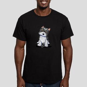 Biewer Yorkie Puppy Men's Fitted T-Shirt (dark)