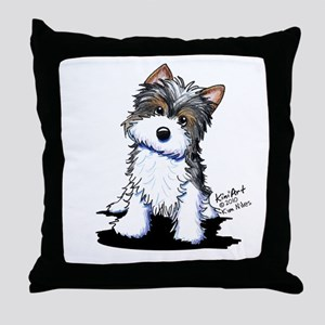 Biewer Yorkie Puppy Throw Pillow