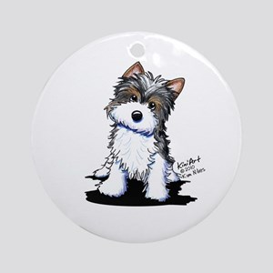 Biewer Yorkie Puppy Ornament (Round)