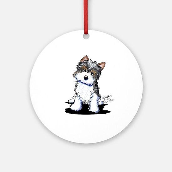 Biewer Yorkie Puppy Ornament (Round)