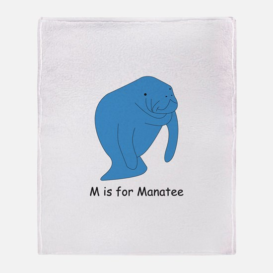 M is for Manatee Throw Blanket