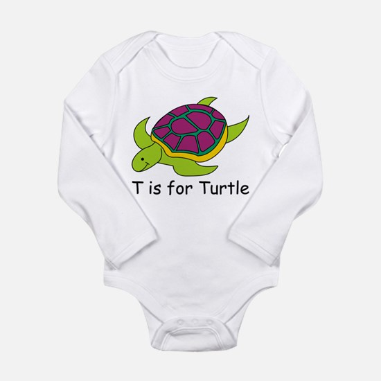 T is for Turtle Long Sleeve Infant Bodysuit